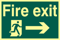ASEC `Fire Exit` 200mm x 300mm PVC Self Adhesive Photo luminescent Sign Right