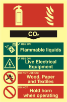 ASEC Fire Extinguisher 200mm x 300mm PVC Self Adhesive Photo luminescent Sign CO2