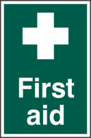 ASEC `First Aid` 200mm x 300mm PVC Self Adhesive Sign 1 Per Sheet