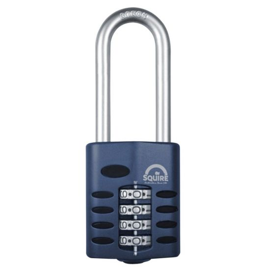 SQUIRE CP50 Series 50mm Steel Shackle Combination Padlock 64mm Long Shackle Visi